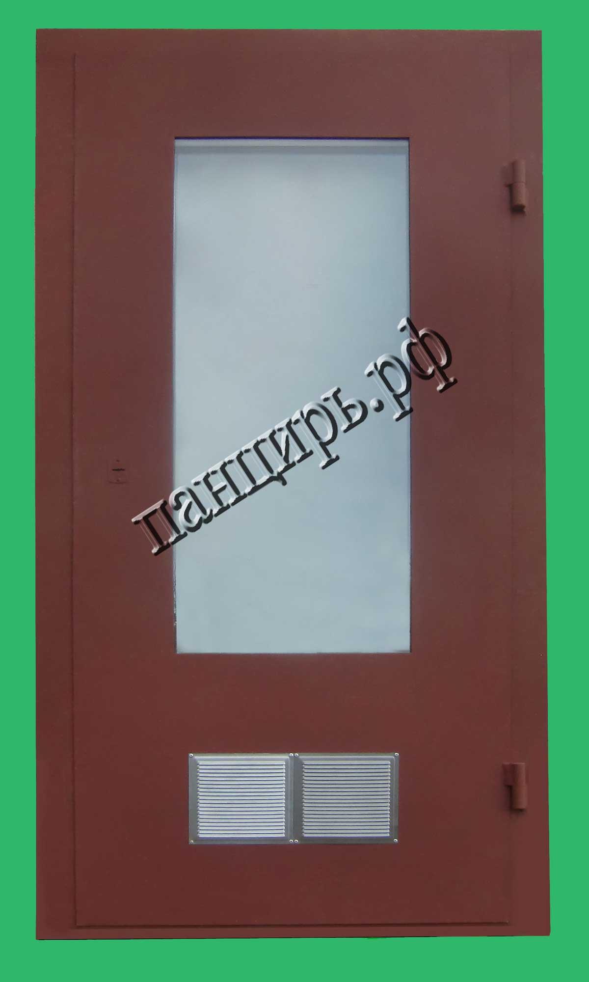 Дверь в котельную на проем 900х2100мм с окном и приточными жалюзями