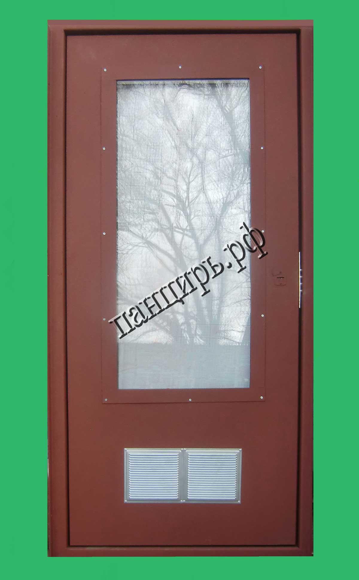 Недорогая дверь для котельной, с окном и жалюзями
