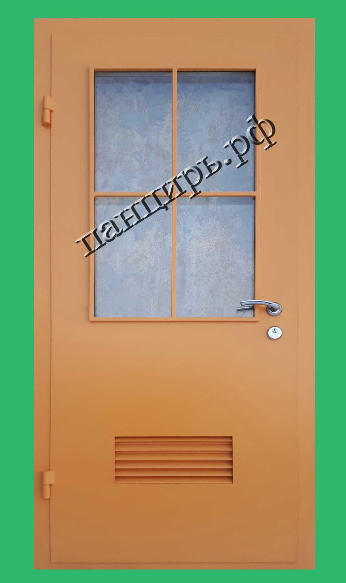 Металлическая дверь в котельную с окном 0,5м2, приточными жалюзями и декоративной решеткой на окно