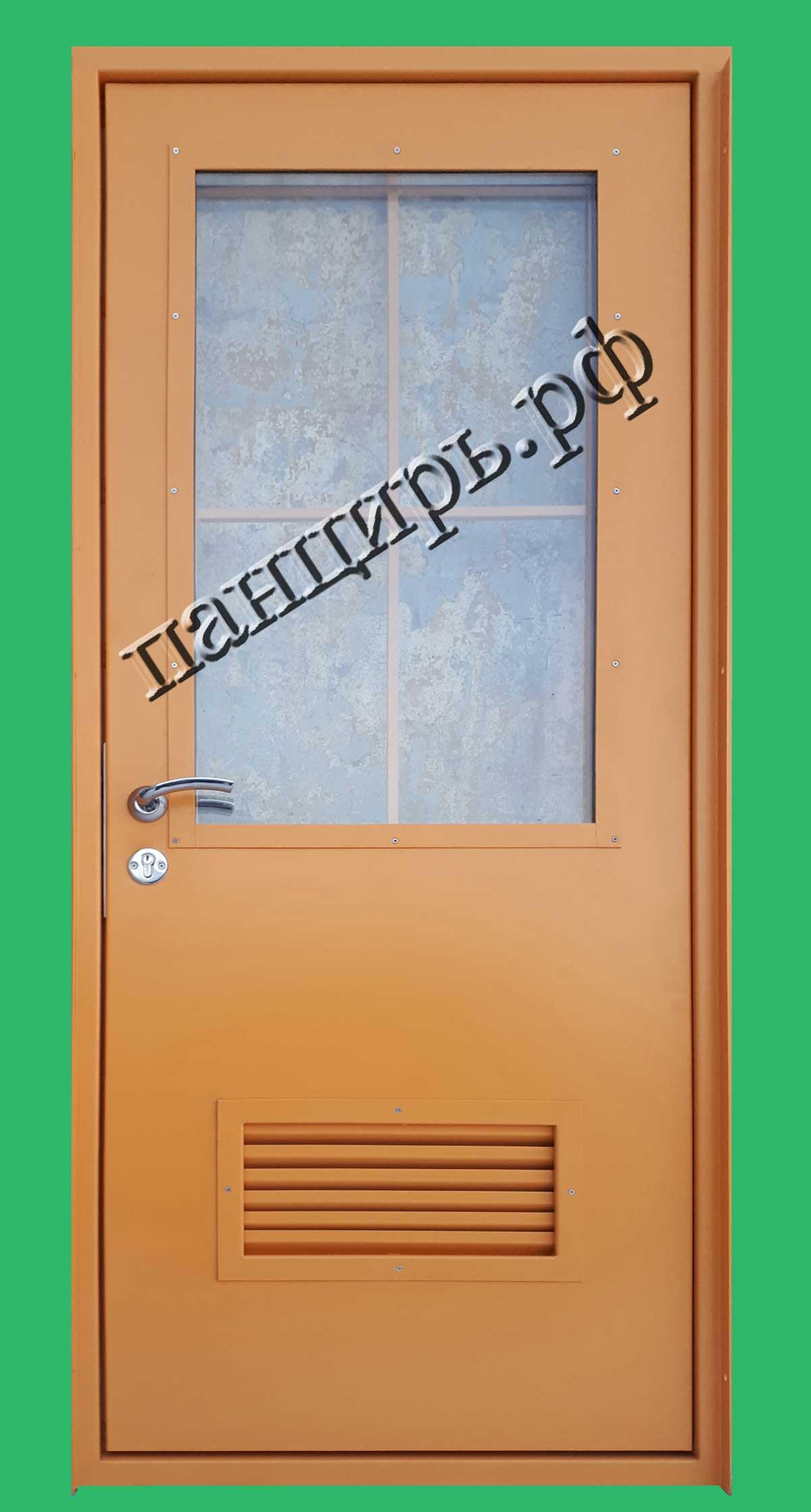 Входная дверь в котельную с окном и жалюзями