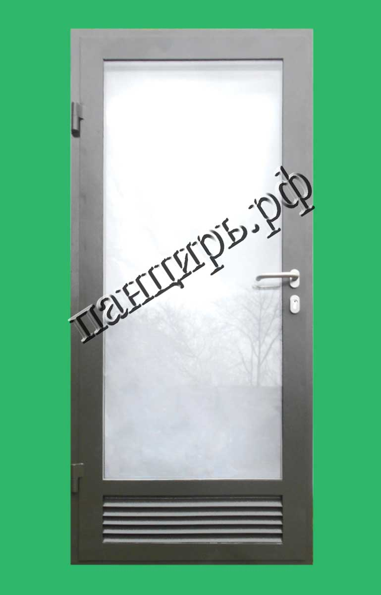 Металлическая дверь в котельную с максимальным остеклением, приточными жалюзями, оснащена узкопрофильным замком