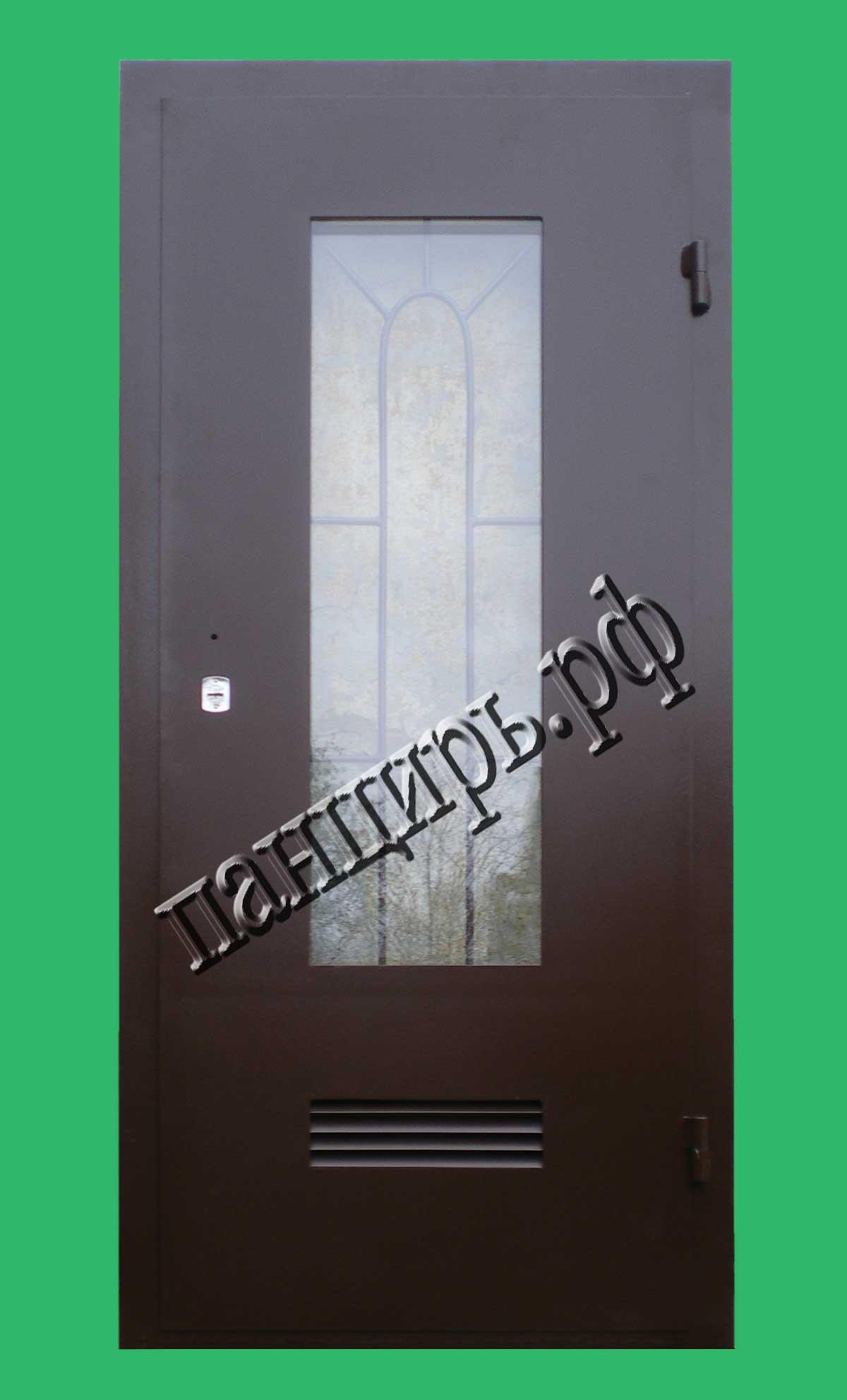 Дверь в котельную с окном 0,5м2, приточными жалюзями