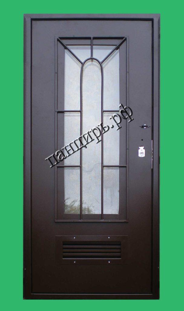 Дверь в котельную с окном и съемной внутренней решеткой, с жалюзями по низу полотна