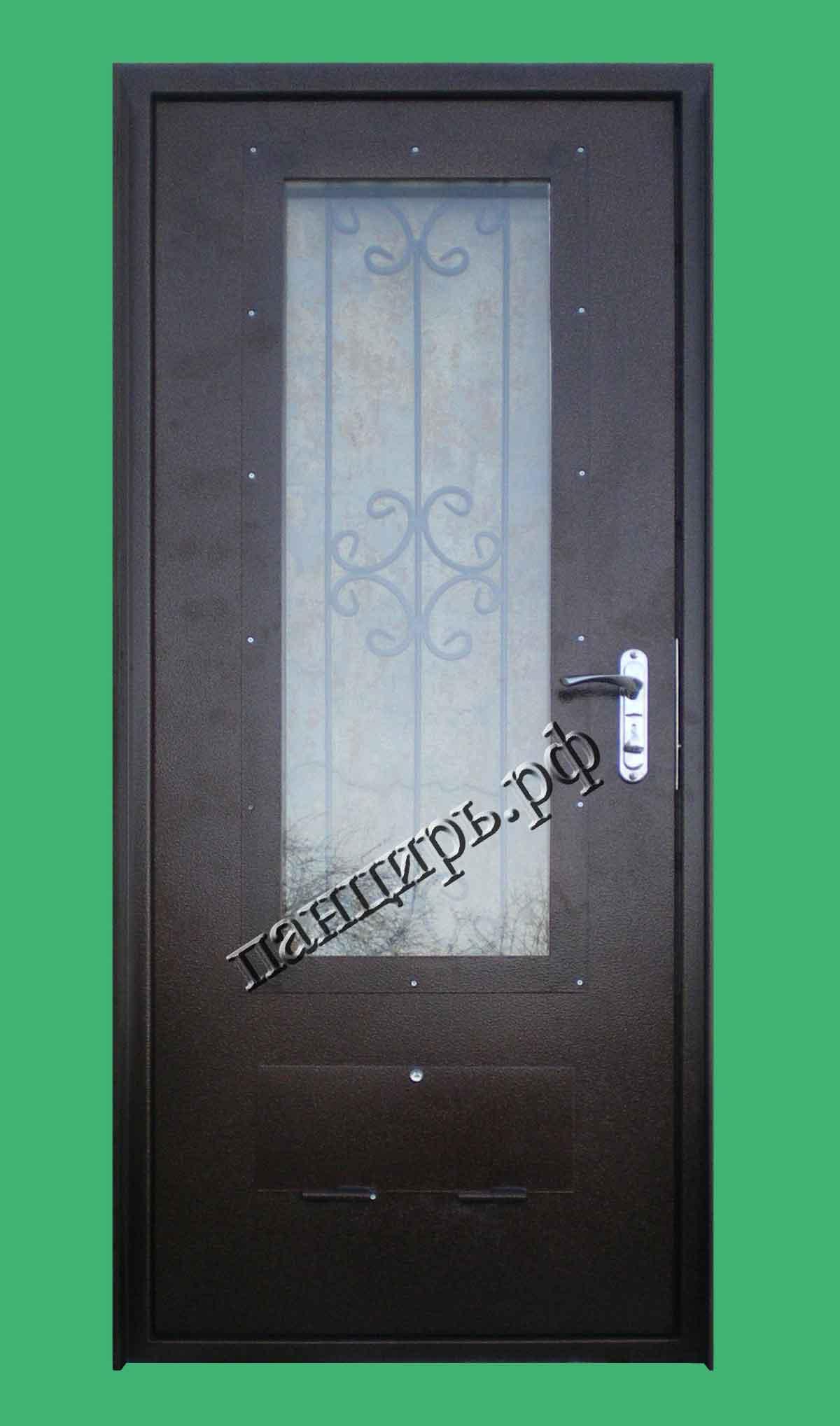 Металлическая дверь в котельную 900х2100мм, с окном и приточными отверстиями