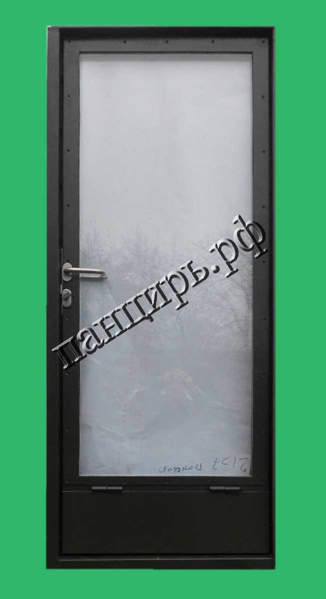 Дверь в котельную с максимальным остеклением, приточными жалюзями по низу и крышкой внутри