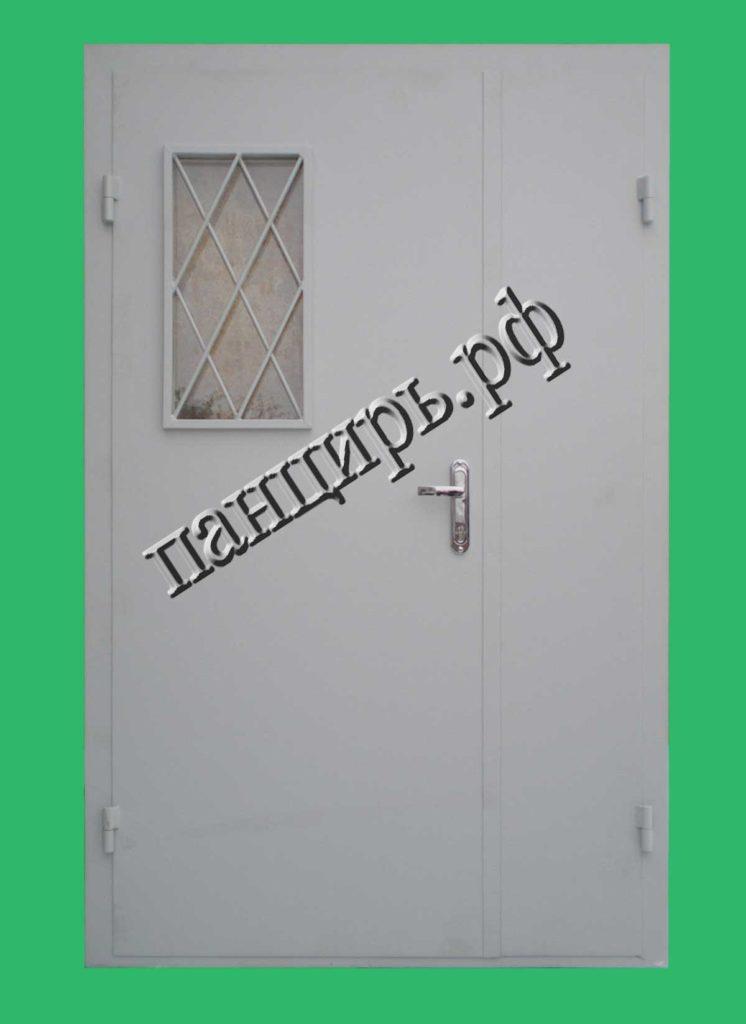двухстворчатая техническая дверь с окном
