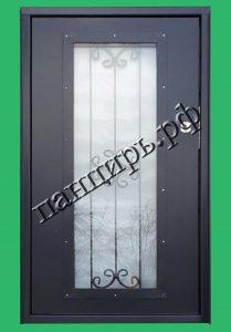 Невысокая дверь в котельную с окном. Вид изнутри. Порошковое напыление RAL 7024.