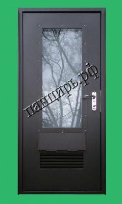 Дверь для газовой котельной частного дома, с окном и вентиляционной решеткой. Покраска RAL 8019.