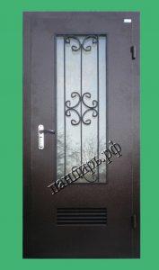 металлическая дверь в котельную с окном и решеткой, с приточными жалюзями